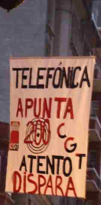 Pancarta Manifestación Atento Coruña