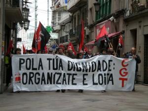 Imaxe da manifestación da CGT coruñesa no ano 2008
