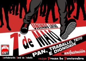 Cartel 1 de Mayo gallego Coruña - pequeno